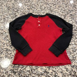 4/$20. Red Polo Thermal with black sleeves